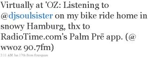 Tweet to @DJSoulSister at WWOZ