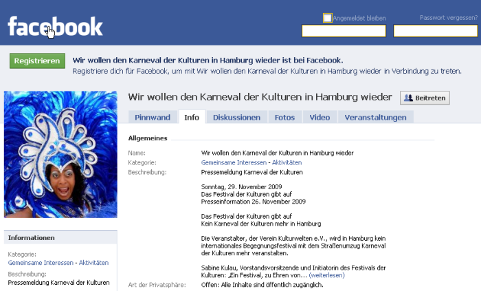 Karneval der Kulturen bei Facebook