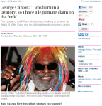 "Screenshot The Guardian: ""George Clinton: 'I was born in a lavatory, so I have a legitimate claim on the funk'"""