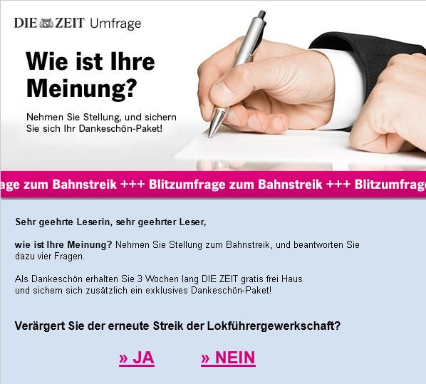 """""""DIE ZEIT""""-Newsletter: Blitzumfrage zum Bahnstreik"""