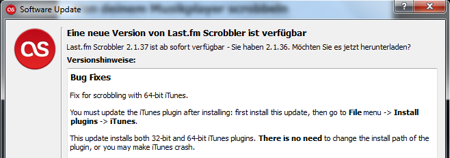 The 64-bit iTunes vs. Last.FM Scrobbler problem has finally been solved! (2/3)