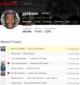 pjebsen's 200,000th Last.FM scrobble