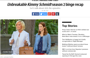Screenshot: Entertainment Weekly's Unbreakable Kimmy Schmidt season 2 binge recap