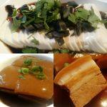 """Dong Po Rou (Schweinebauch) / Braised pork belly with brown sauce - Tofu mit """"schwarzen"""" (tausendjährigen) Eiern / Tofu with preserved eggs (century egg/Pidan) (Photos: Peter Jebsen/All rights reserved)"""